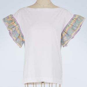 Emilio Pucci Printed Silk Twill-Trimmed T-Shirt